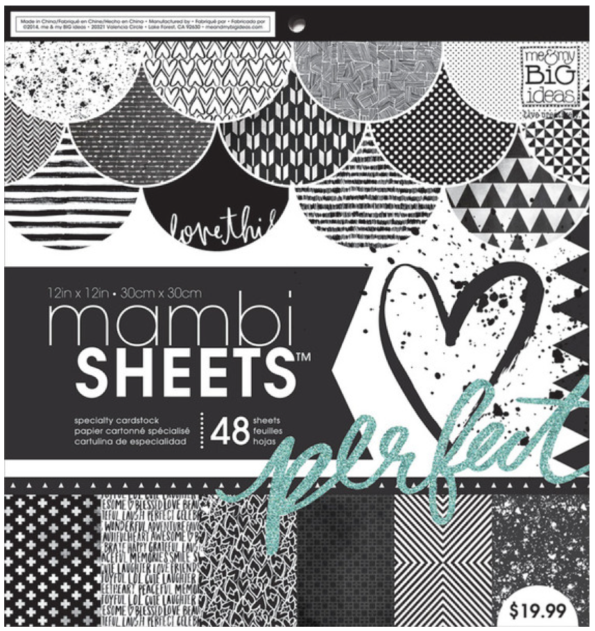 Black & White Trendy Graphics 12x12 mambiSHEETS paper pad   me & my BIG ideas