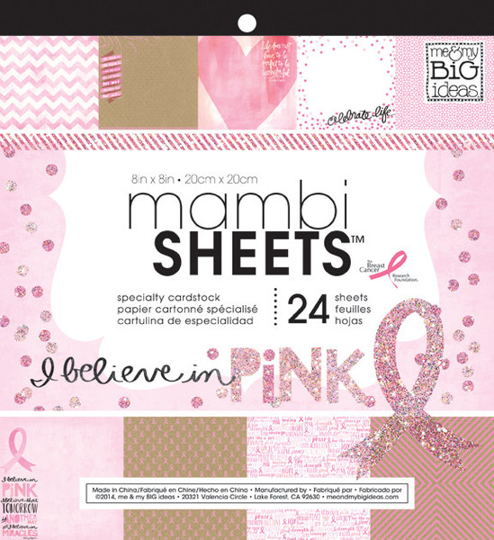 'I Believe in Pink' 12x12 mambiSHEETS paper pad   me & my BIG ideas