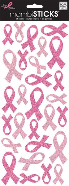 Pink Glitter Breast Cancer ribbons mambiSTICKS glitter stickers   me & my BIG ideas