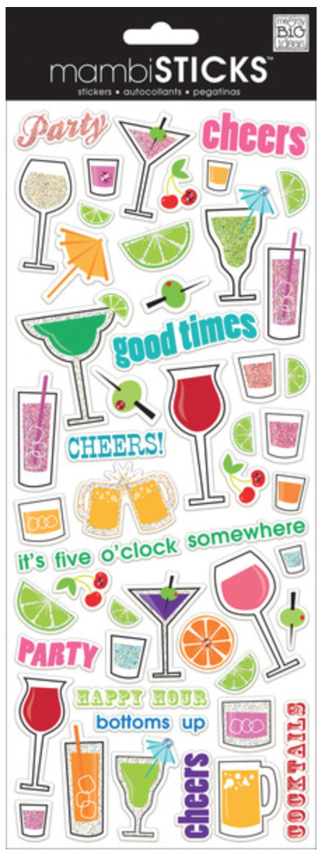 'Cocktails' mambiSTICKS clear stickers | me & my BIG ideas