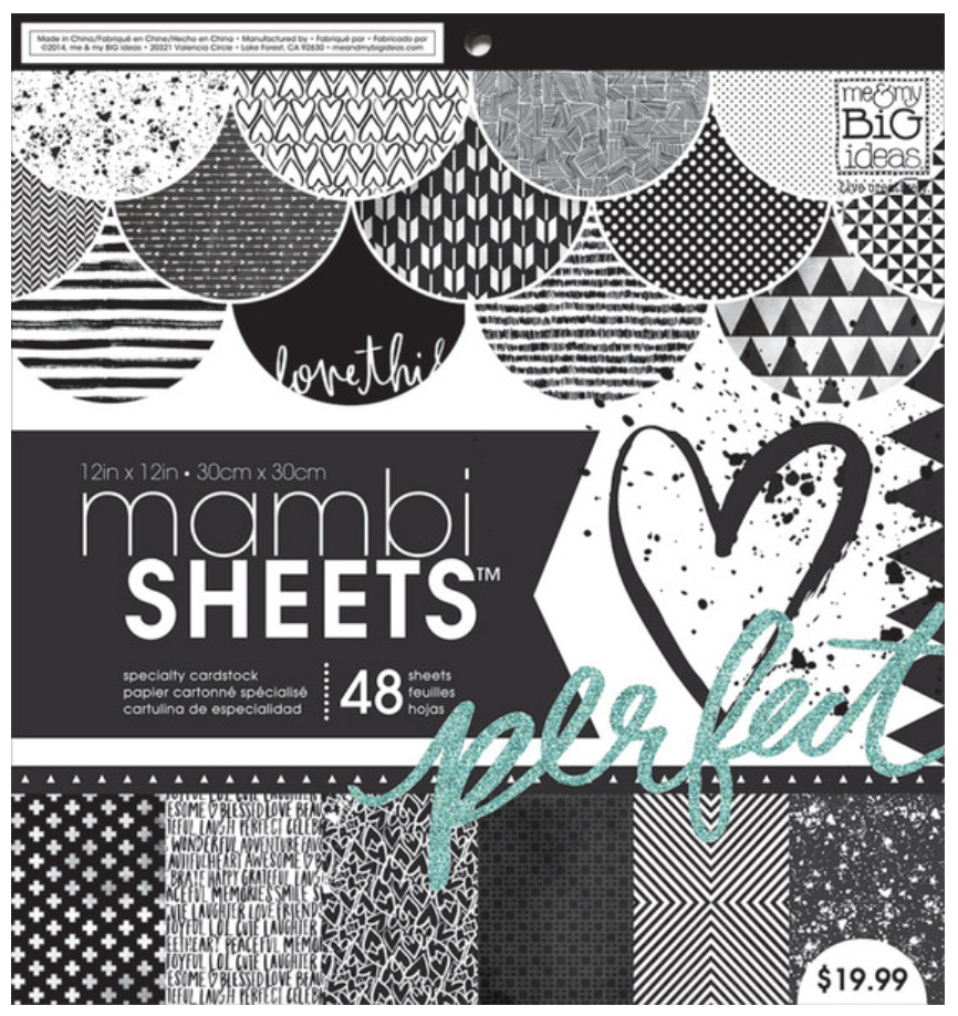 Black & White Trendy Graphics 12x12 mambiSHEETS paper pad | me & my BIG ideas