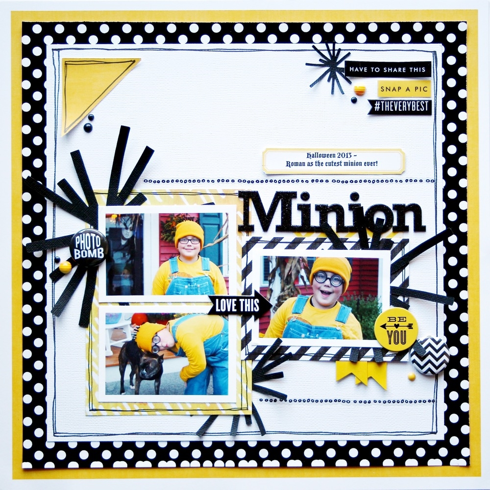 'Minion' scrapbook page of Bubba as a minion - Oct 2013