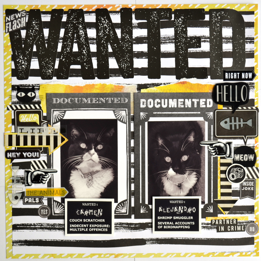 "'WANTED"" layout using tons of black&yellow mambiSTICKS"