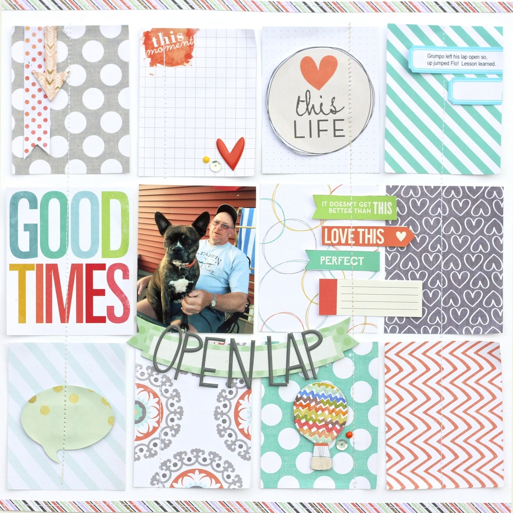 'Open Lap' scrapbook page using POCKET PAGES™ cards