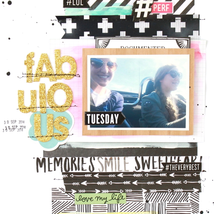 'Fabulous' Scrapbook layout w/ gold glitter alphas