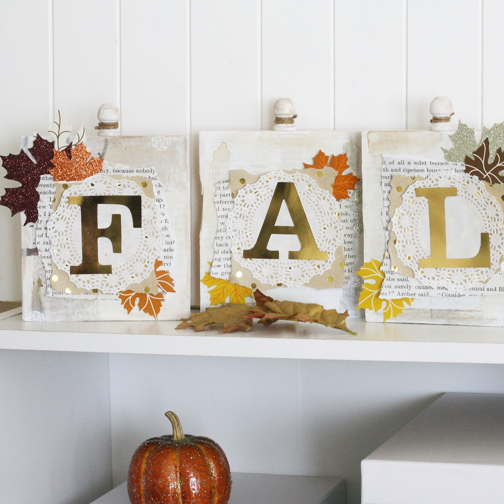 'FALL' wood word blocks using gold foil mambiSTICKS