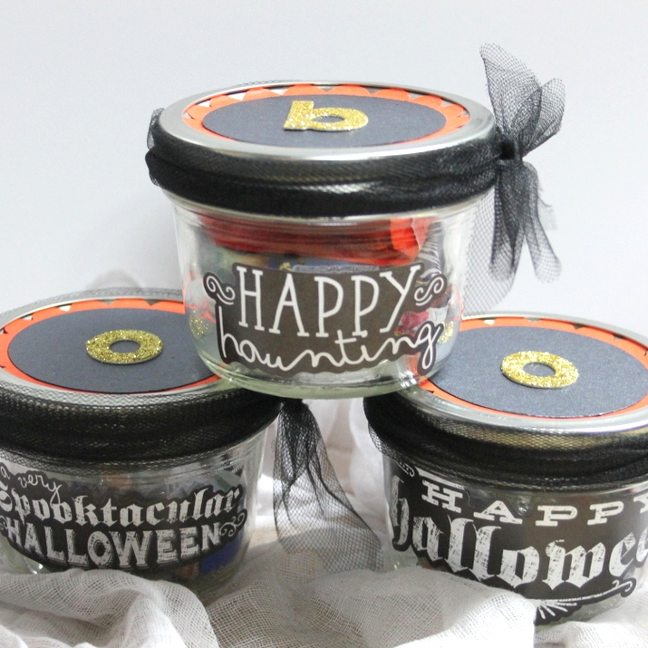 Halloween candy jars using Happy Halloween mambiSTICKS