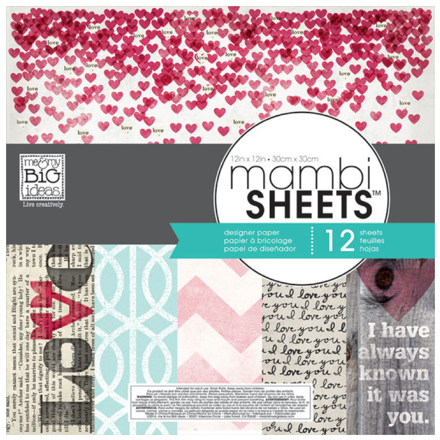 Straight to the Heart 12x12 mambiSHEETS paper pad | me & my BIG ideas