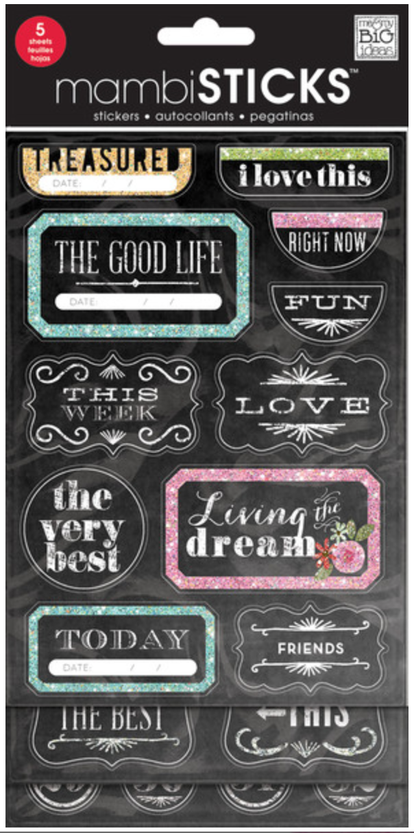 'The Good Life' chalkboard mambiSTICKS sticker value pack | me & my BIG ideas