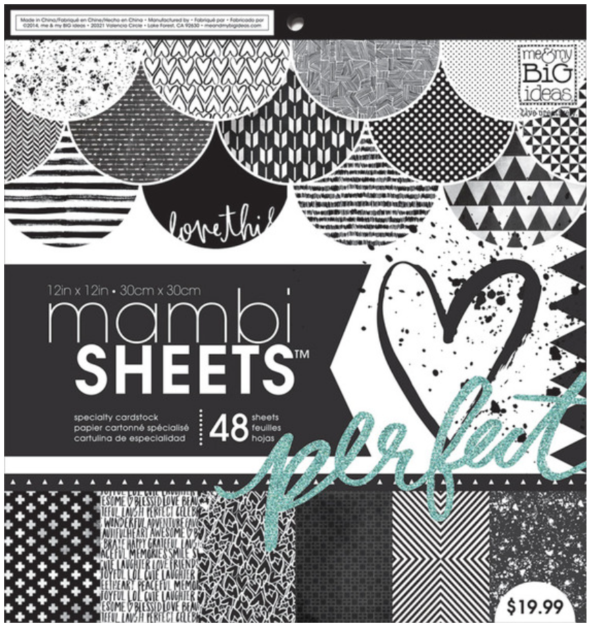 Black & White Trendy Graphic 12x12 mambiSHEETS paper pad | me & my BIG ideas