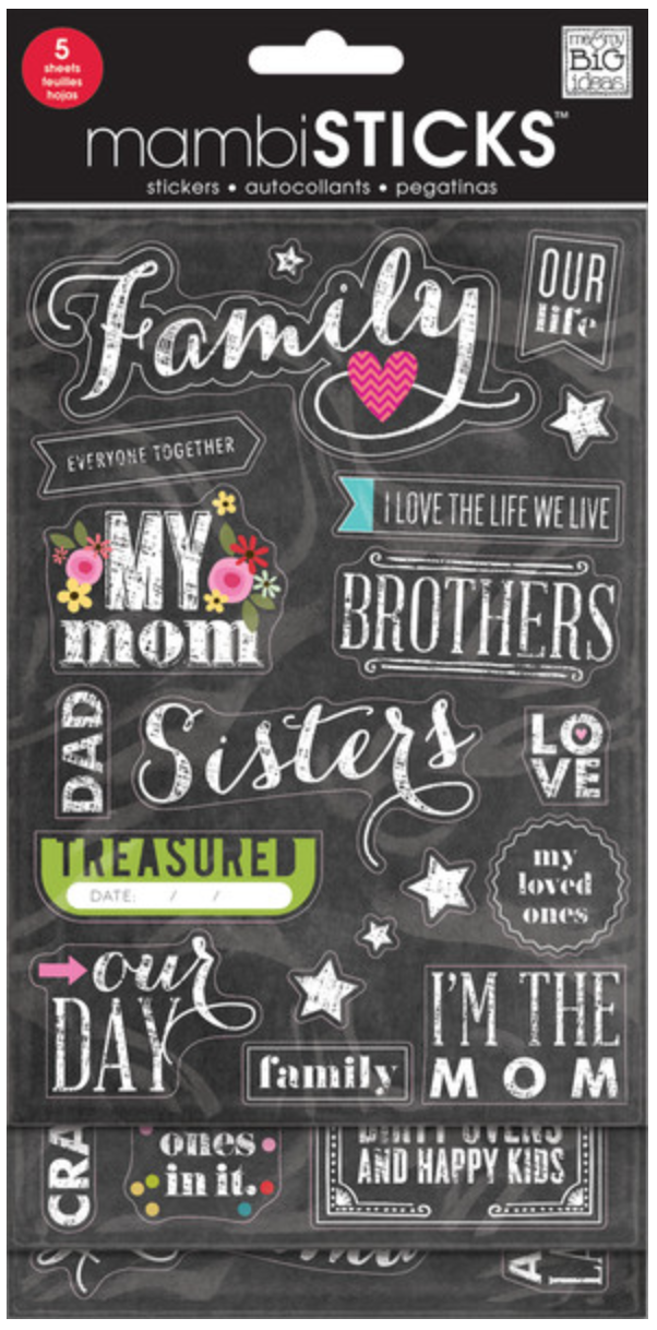 'Family' mambiSTICKS Chalkboard Value Pack stickers | me & my BIG ideas