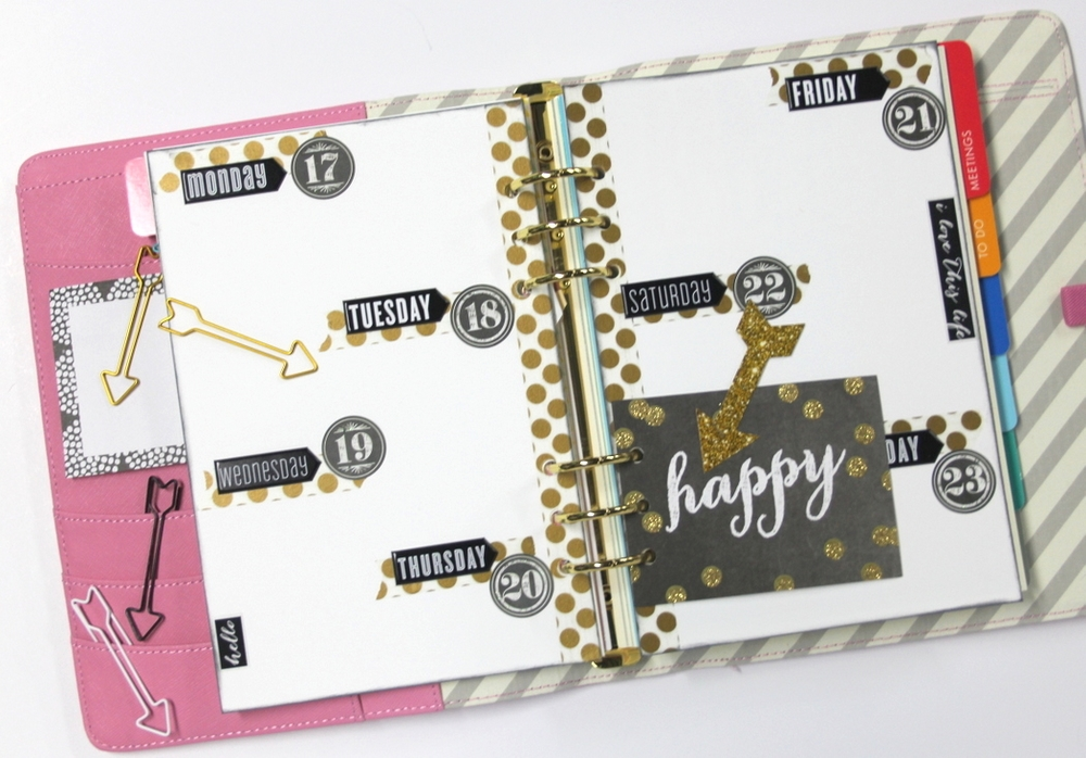 happy black & gold week planner spread by mambi Design Team member Candi Billman | me & my BIG ideas