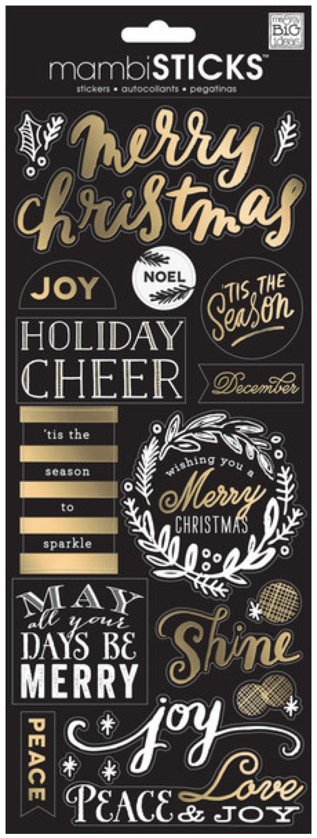 Merry Christmas Gold Foil mambiSTICKS clear stickers | me & my BIG ideas