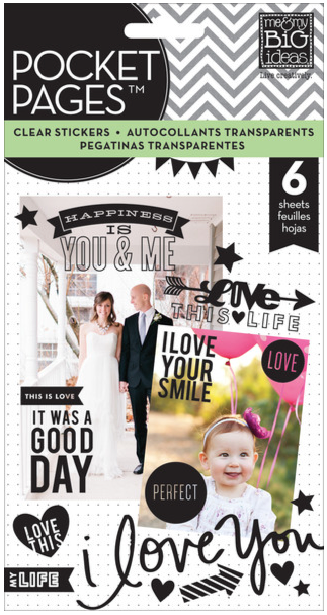 'Love' black POCKET PAGES™ clear sticker pad | me & my BIG ideas