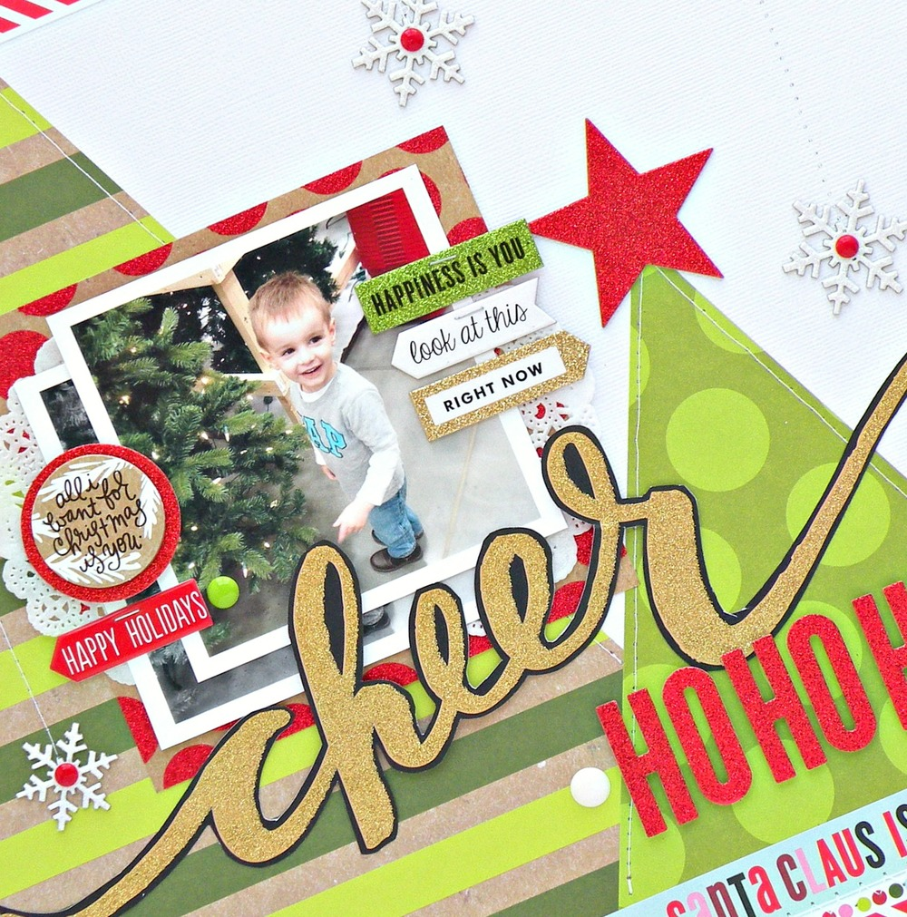 'Cheer' scrapbook page by mambi Design Team member Stephanie Buice | me & my BIG ideas