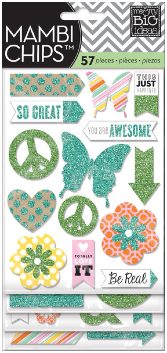 Teal & Green Glitter mambiCHIPS chipboard stickers | me & my BIG ideashttp://shop.meandmybigideas.com/collections/mambi-chips/products/pocket-pages-themed-specialty-icon-chip-flip-pack-you-are-awesome