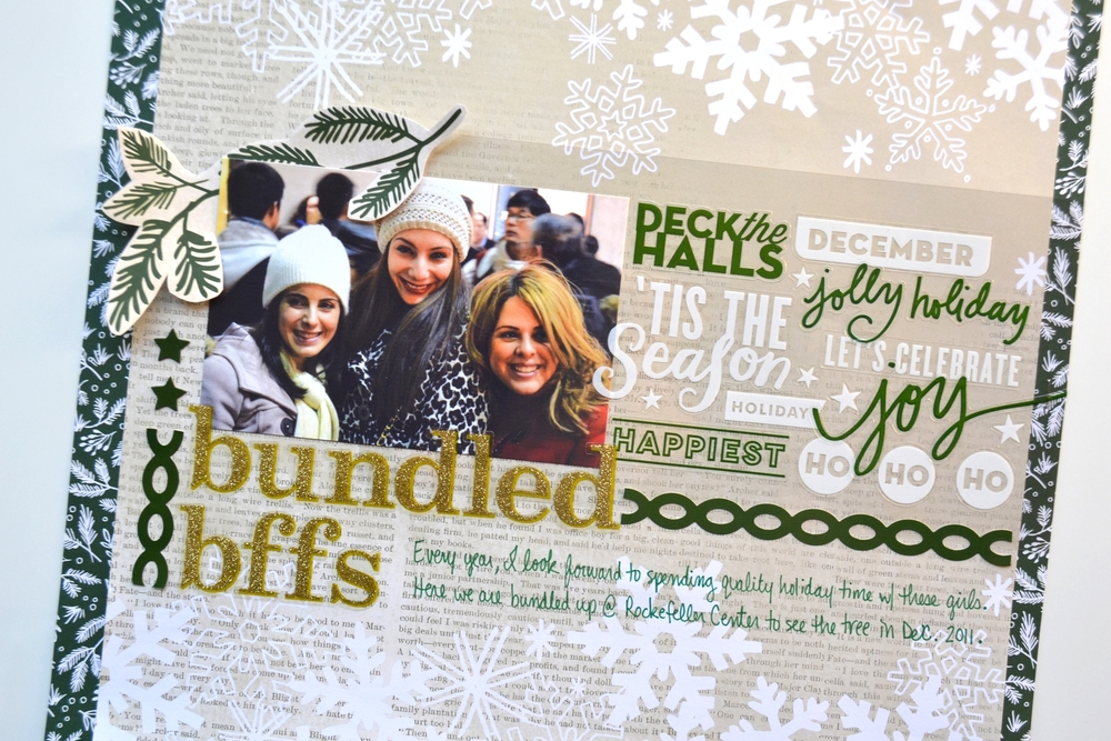 'bundled bffs' holiday scrapbook page by Amanda Zampelli | me & my BIG ideas