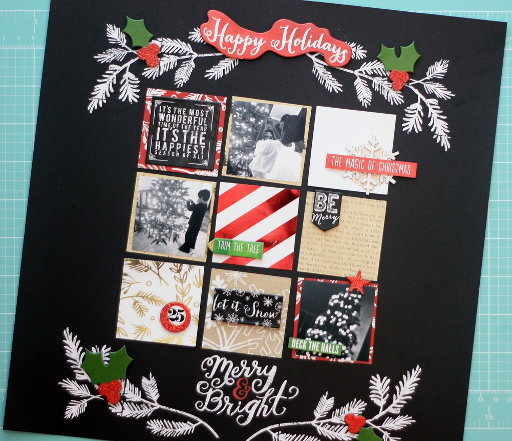 'Merry & Bright' scrapbook layout by mambi Design Team member April Orr | me & my BIG ideas