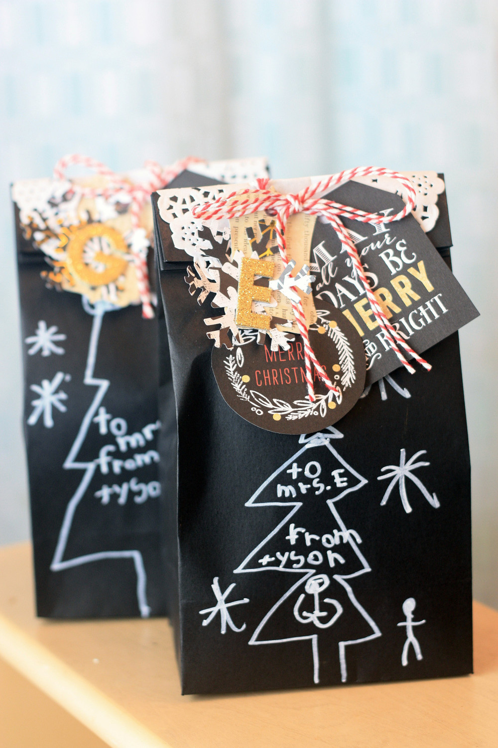 DIY Christmas Gift Bags for Teacher by mambi Design Team member April Orr | me & my BIG ideas