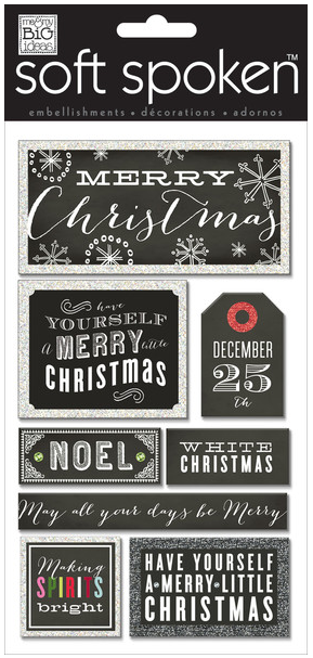 'Merry Christmas Chalkboard' SOFT SPOKEN™ holiday stickers | me