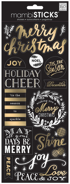 Gold Foil Merry Christmas mambiSTICKS holiday stickers | me & my BIG ideas