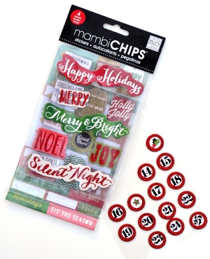 'Happy Holidays' Christmas mambiCHIPS holiday chipboard stickers | me & my BIG ideas