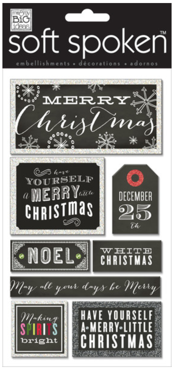 Merry Christmas Chalkboard SOFT SPOKEN™ holiday stickers | me & my BIG ideas