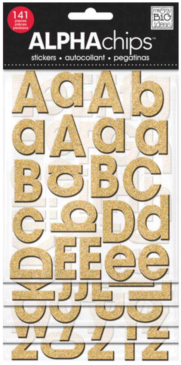 gold glitter Avant Garde ALPHAchips alphabet chipboard stickers | me & my BIG ideas