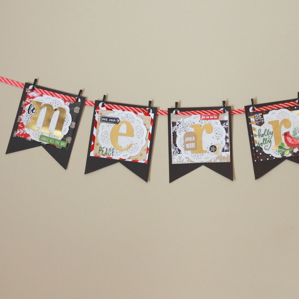 'merry' banner made w/ gold foil mambiSTICKS
