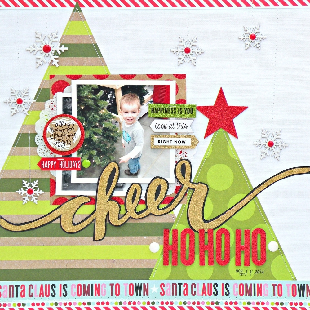creating Xmas trees in this 'cheer' scrapbook layout