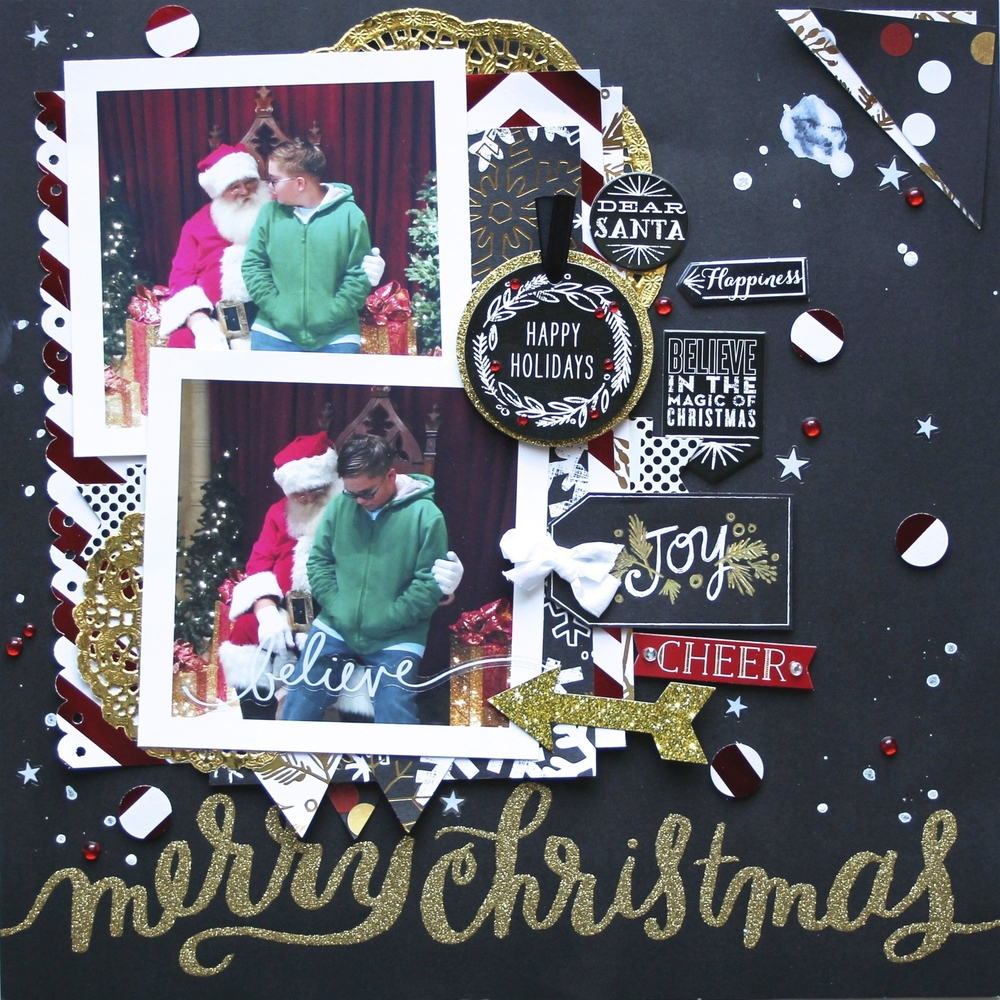 'Merry Christmas' layout w/ holiday mambiSTICKS