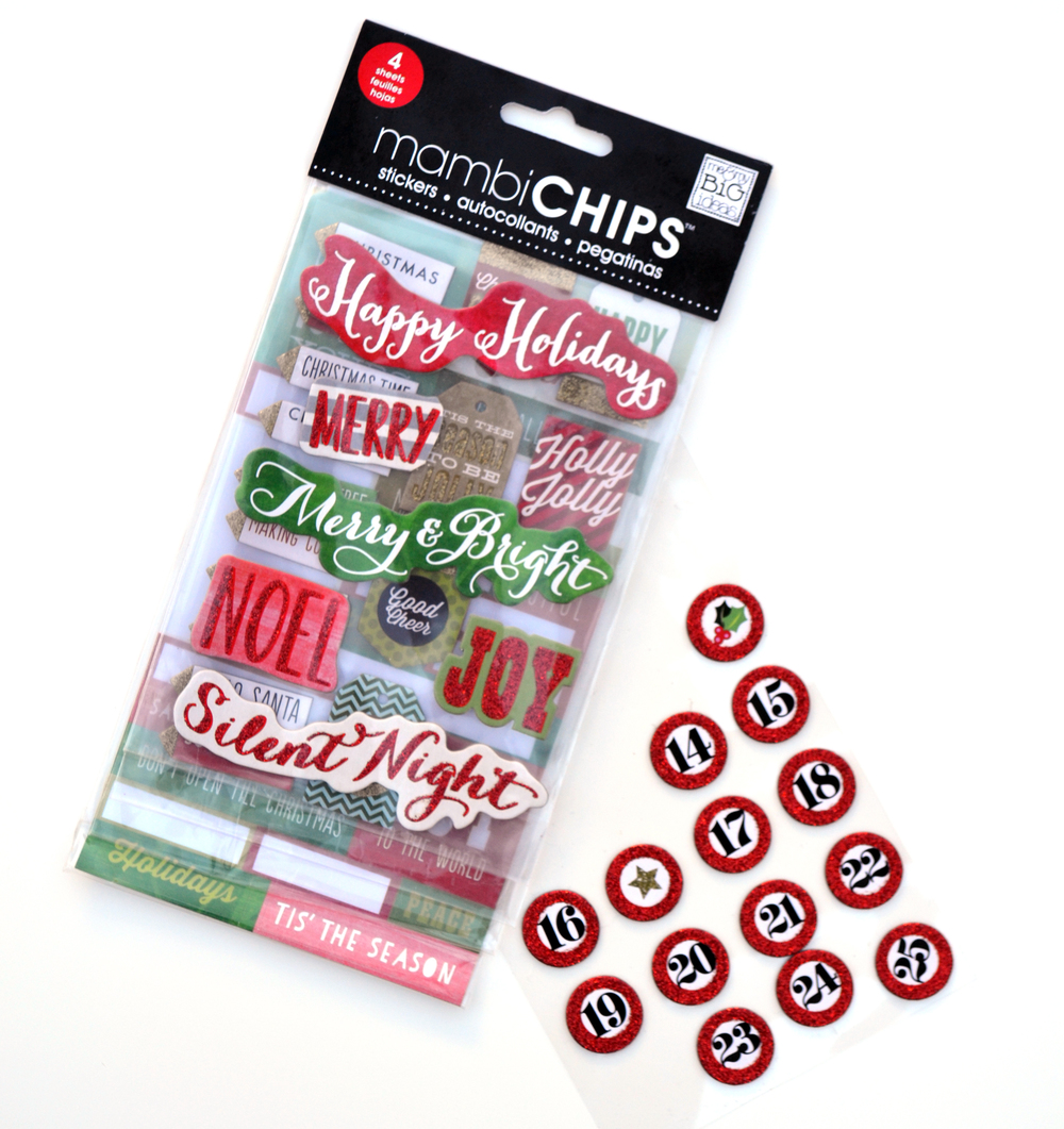 'Happy Holidays' Christmas mambiCHIPS stickers | me & my BIG ideas
