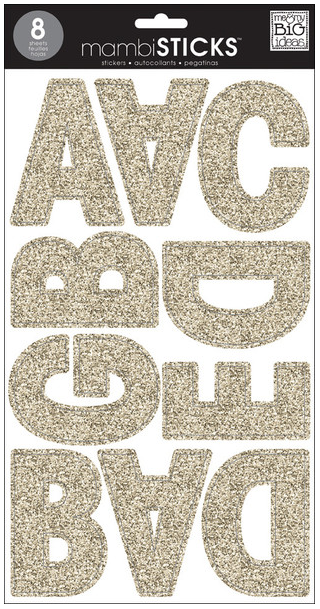 Gold Glitter uppercase jumbo mambiSTICKS alphabet stickers | me & my BIG ideas