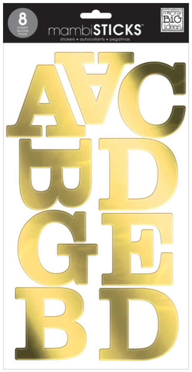 Gold Foil Uppercase mambiSTICKS jumbo alphabet stickers | me & my BIG ideas