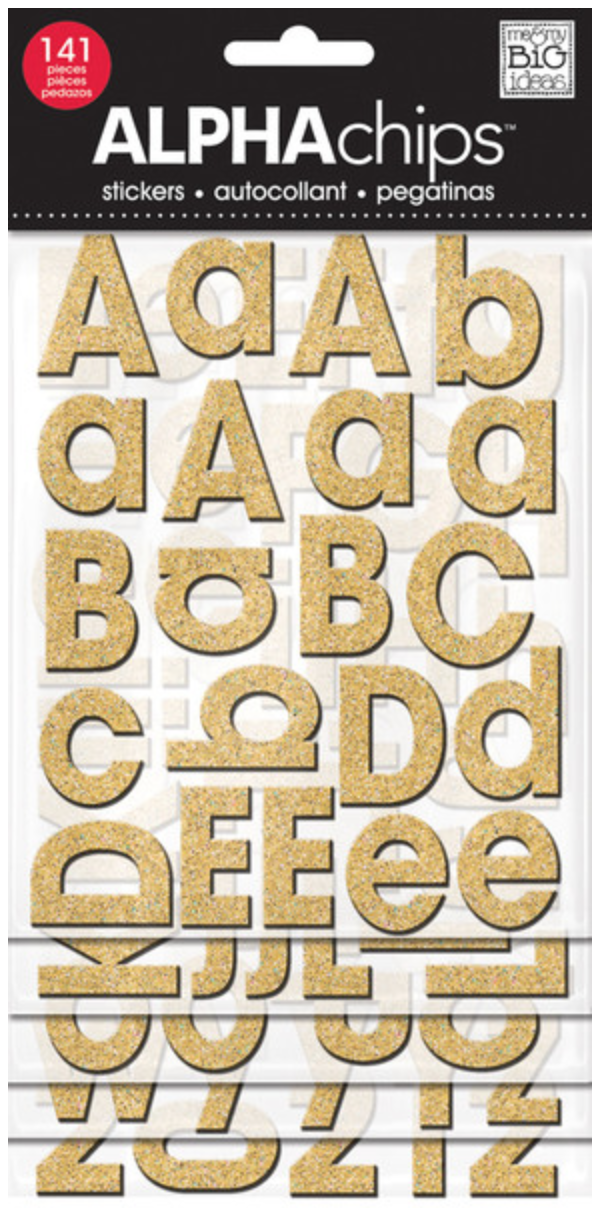 Avant Garde Gold Glitter ALPHAchips chipboard alphabet stickers | me & my BIG ideas