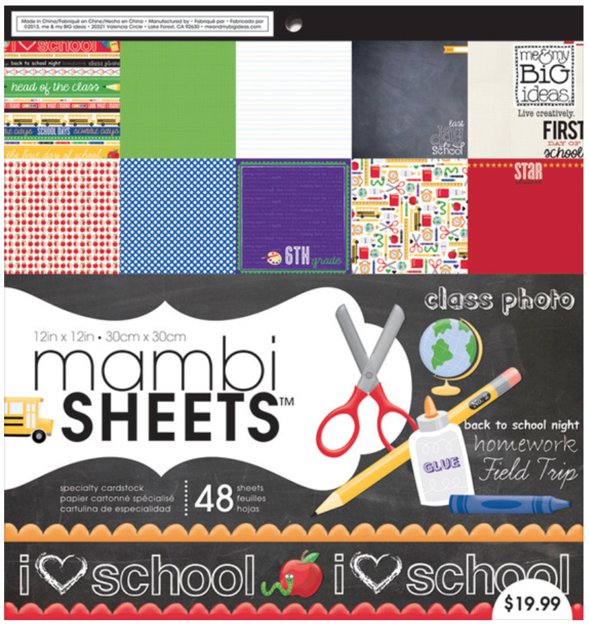 'I Heart School' 12x12 mambiSHEETS paper pad | me & my BIG ideas