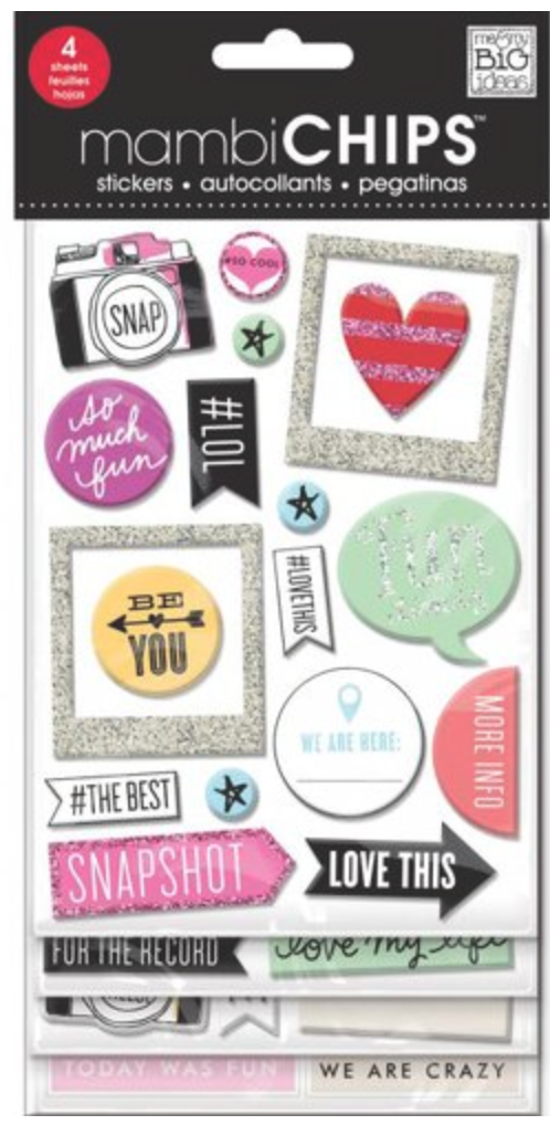 'Insta Love' mambiCHIPS chipboard sticker pack | me & my BIG ideas