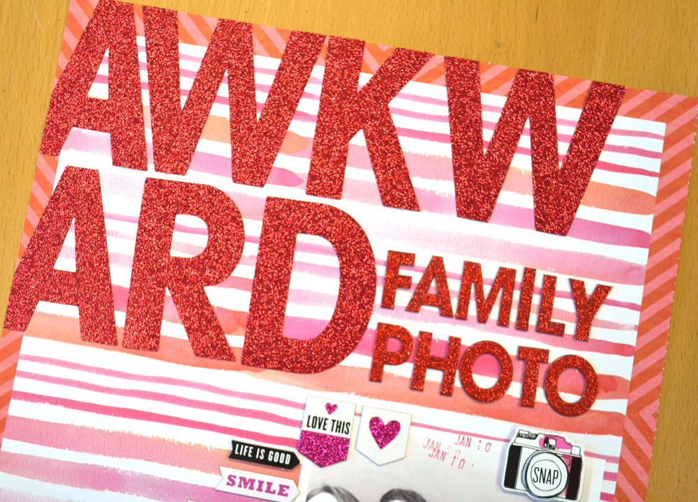 Awkward Family Photo Scrapbook Page by Amanda Zampelli for the #mambiREDandPINK Instagram Challenge | me & my BIG ideas