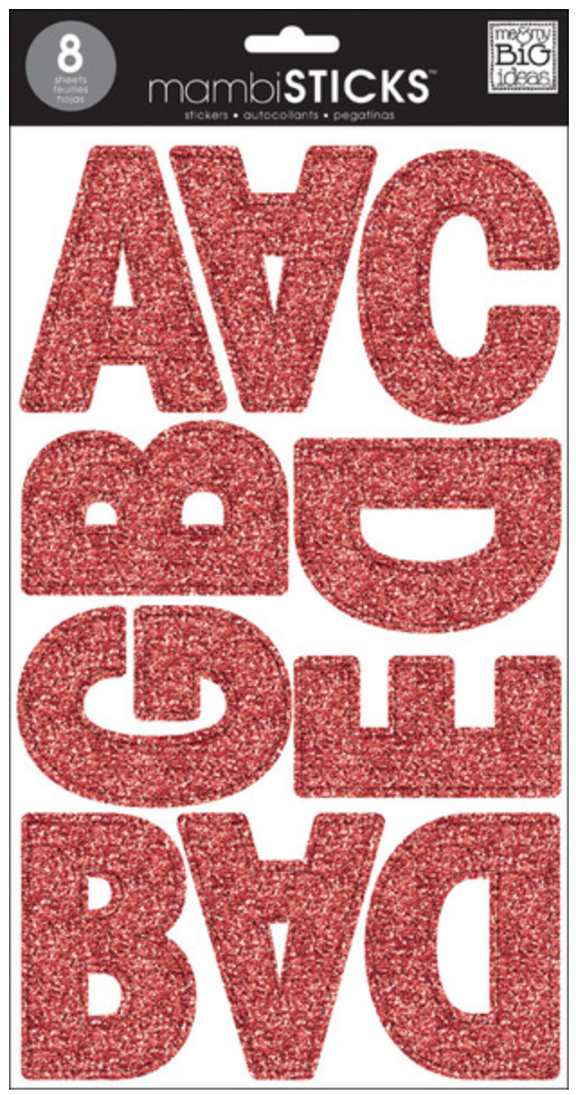 Red Glitter Uppercase Jumbo Alpha mambiSTICKS | me & my BIG ideas