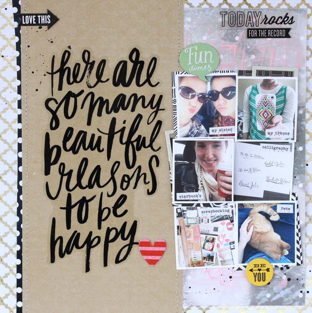 """So Many Reasons to be Happy"" Scrapbook Page by mambi Design Team member Heather Adams 