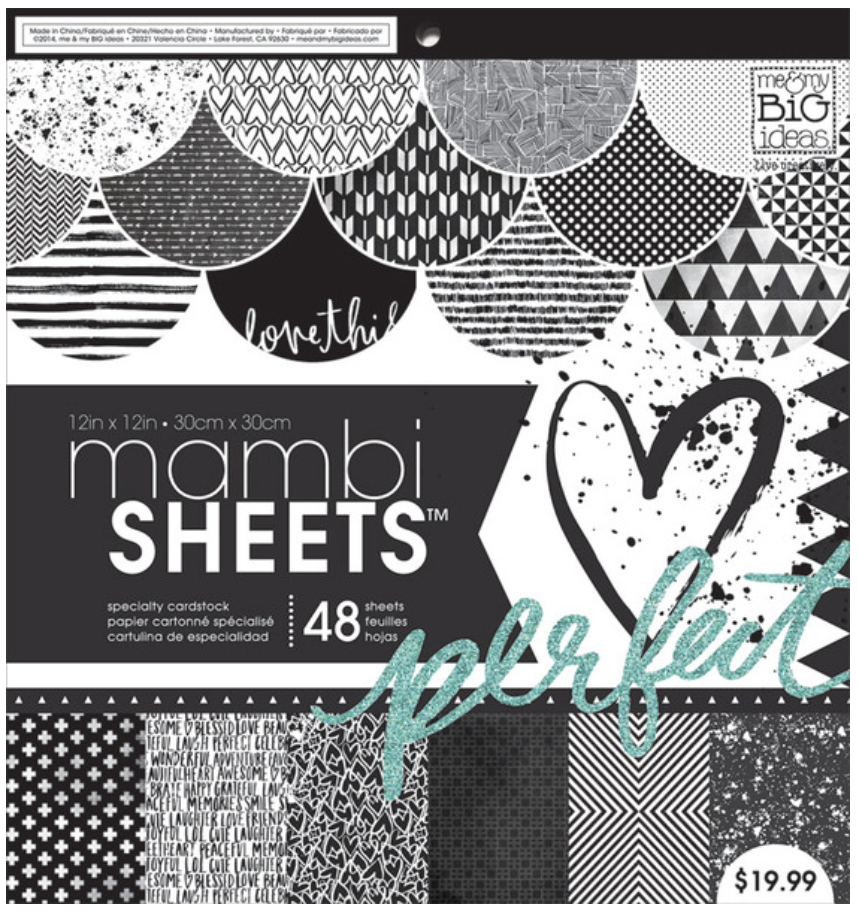 'Black & White Trendy Graphic Print' 12x12 mambiSHEETS paper pad | me & my BIG ideas