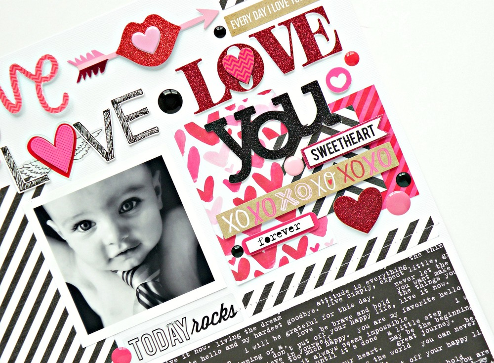 """Love Love Love You"" scrapbook page by mambi Deisgn Team member Stephanie Buice 