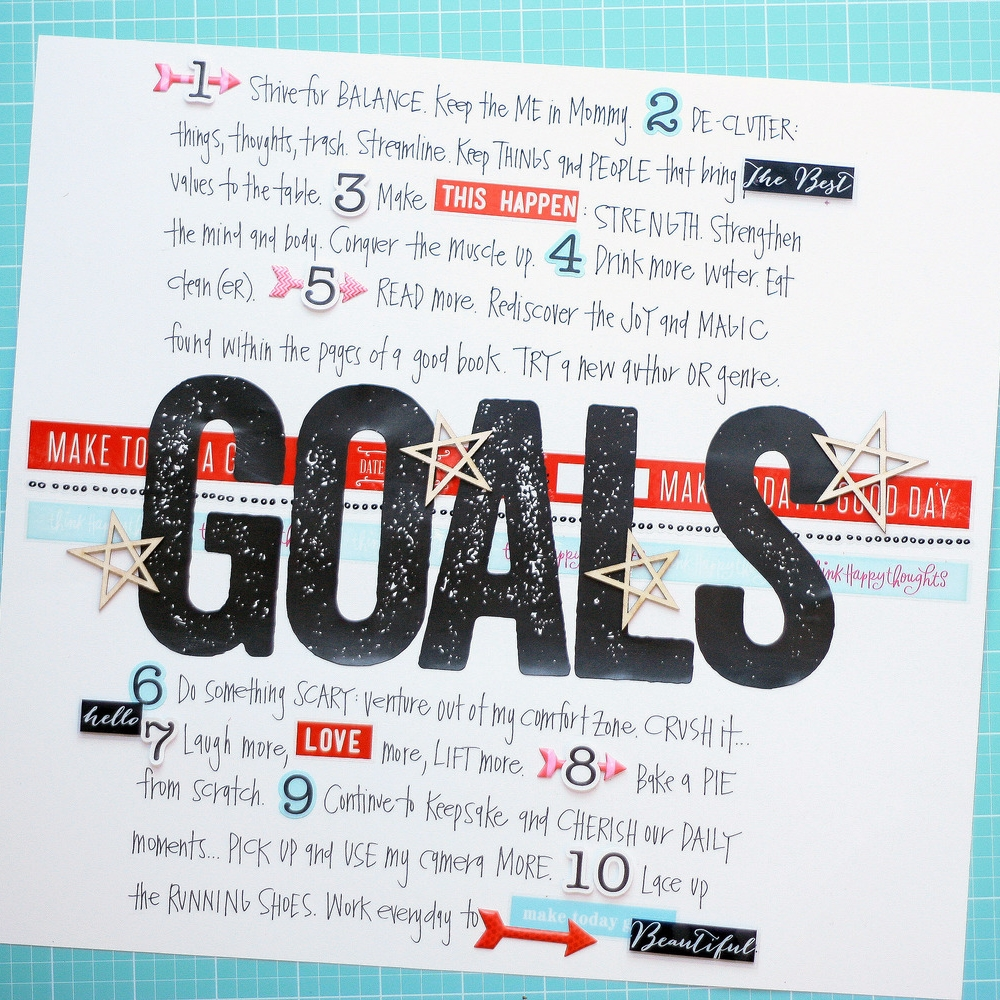 a Scrapbook Page listing New Year's goals for 2015