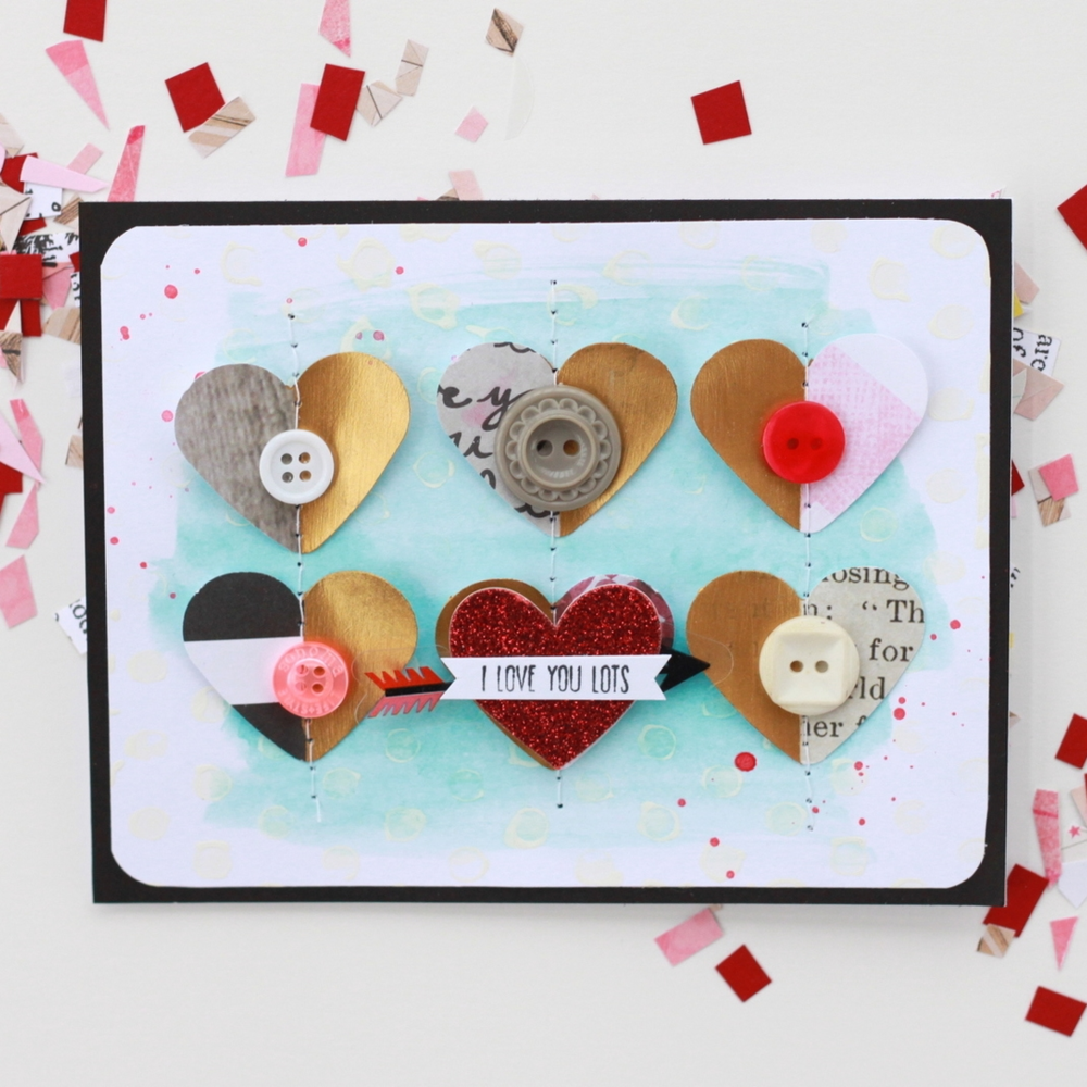 'I Love You Lots' Valentine's Day card w/ half-gold hearts