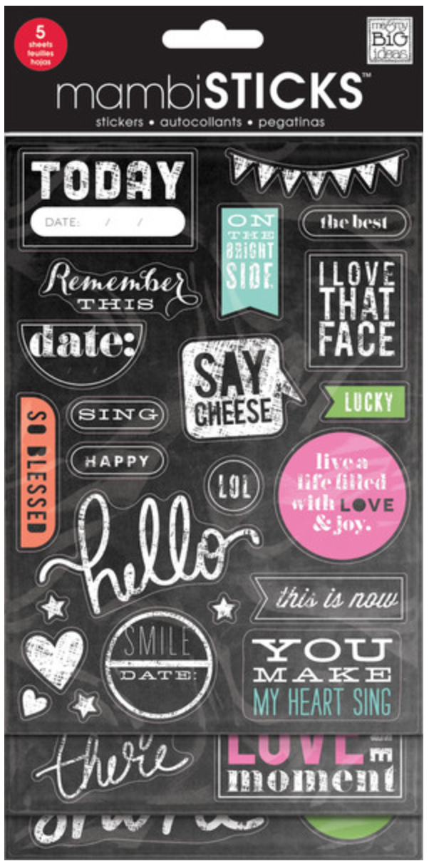 'Today' mambiSTICKS Chalkboard Value Pack stickers | me & my BIG ideas
