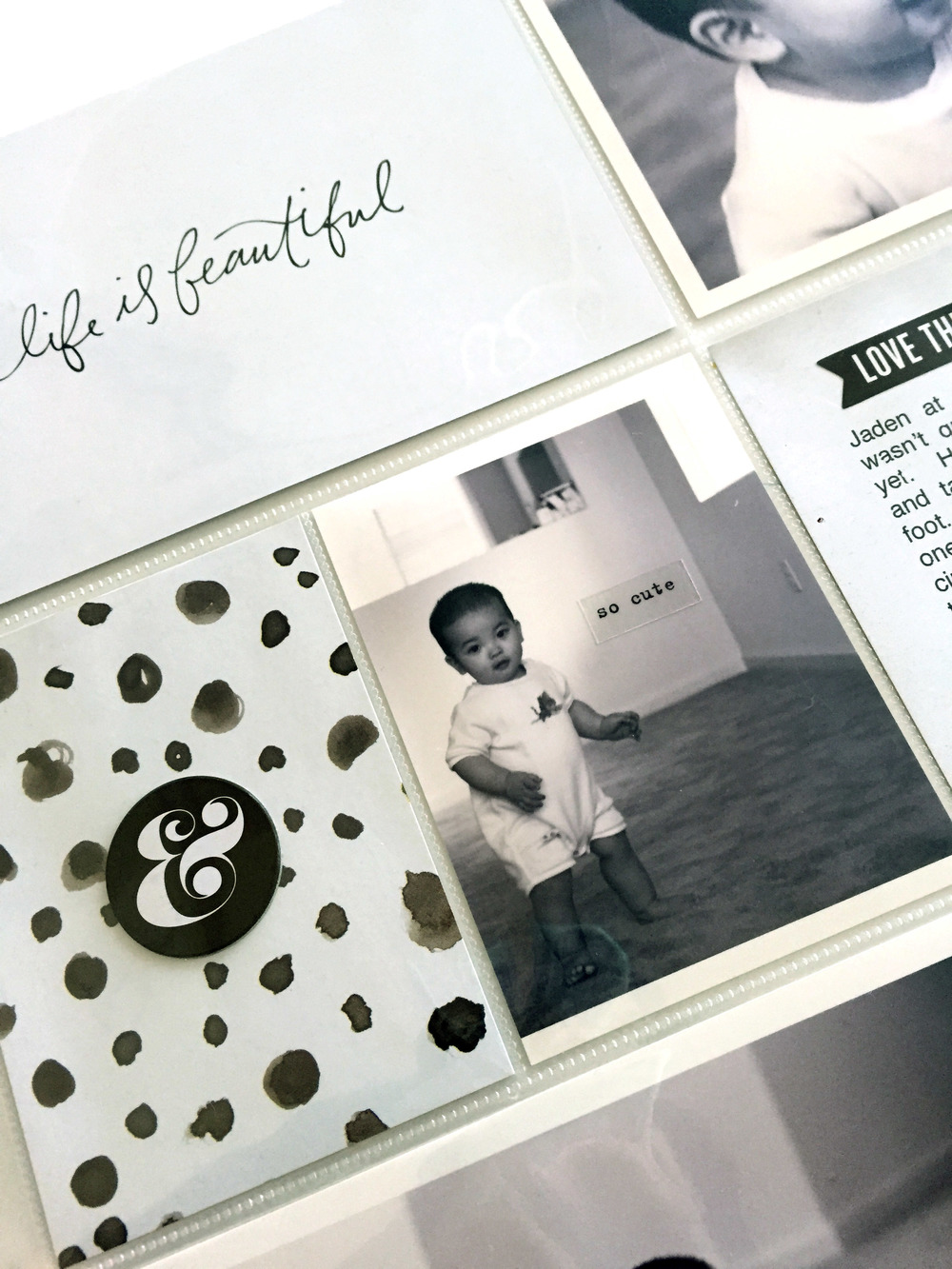 black & white 'life is beautiful' POCKET PAGES™ layout by mambi Design Team member Theresa Doan using art prints from our new Specialty DIY Gallery Art Pads | me & my BIG ideas