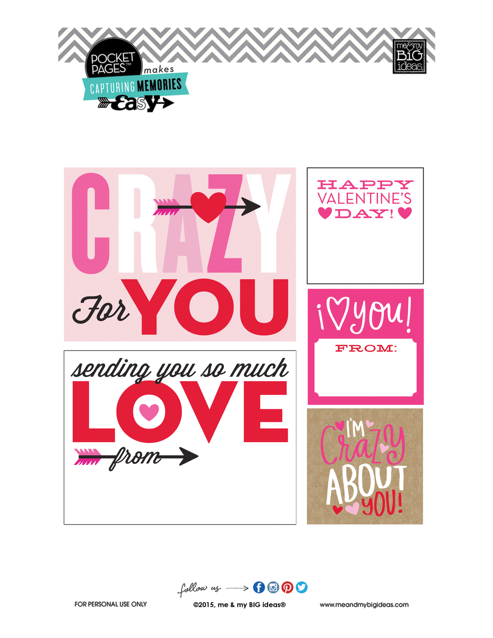 Valentine's POCKET PAGES™ Free Printable 01 | me & my BIG ideas