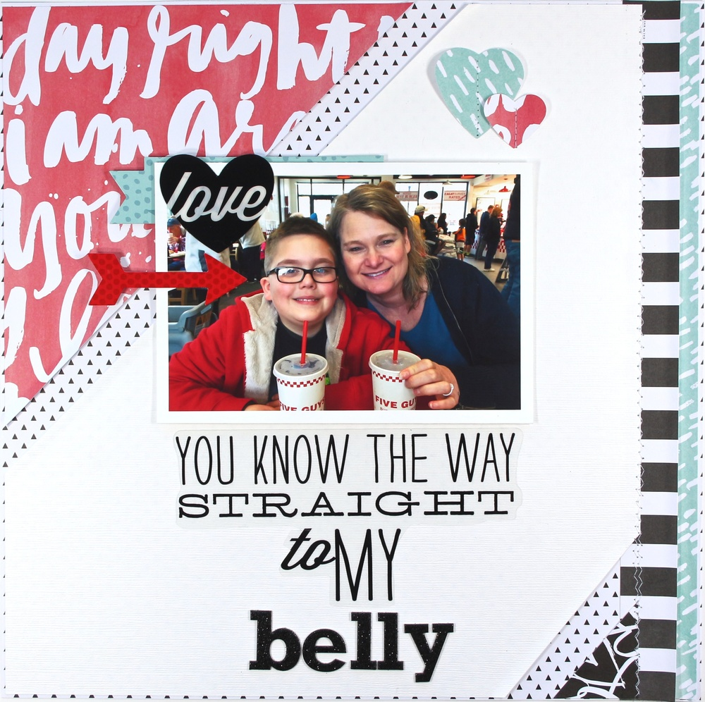 'Straight to my Belly' scrapbook page by mambi Design Team member Mary-Ann Maldonado | me & my BIG ideas