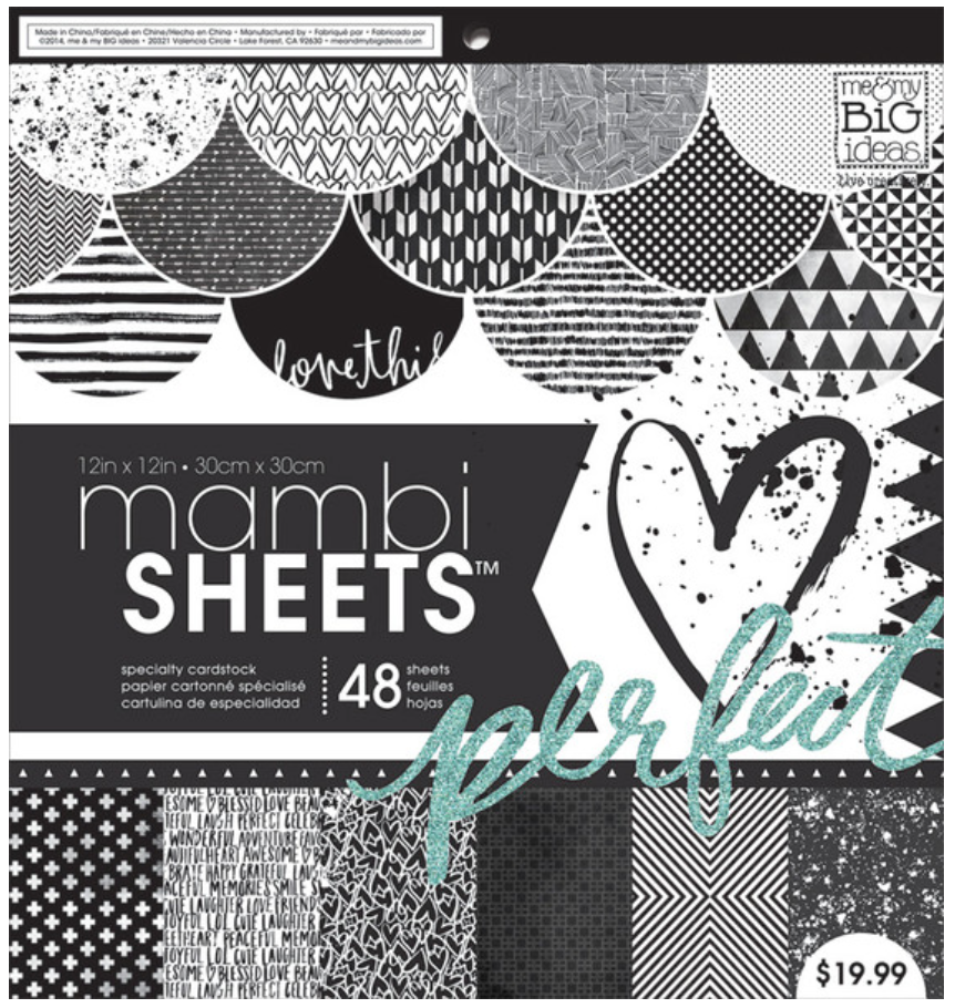 Black & White Trendy Graphic Print 12x12 mambiSHEETS paper pad | me & my BIG ideas