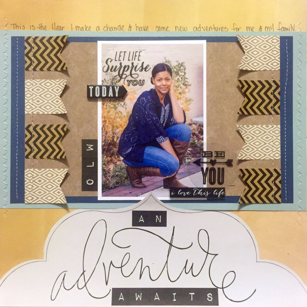 'Adventure' scrapbook page by mambi Design Team member Latrice Murphy | me & my BIG ideas